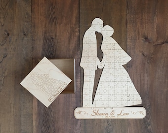 Wedding Guest Puzzle | Custom Engraved Guest Wedding Puzzle | Personalized Wedding Gifts