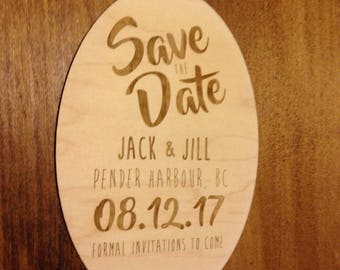 Wood Laser Engraved 'Save the Date' Invitation | Unique Save the Date Invites