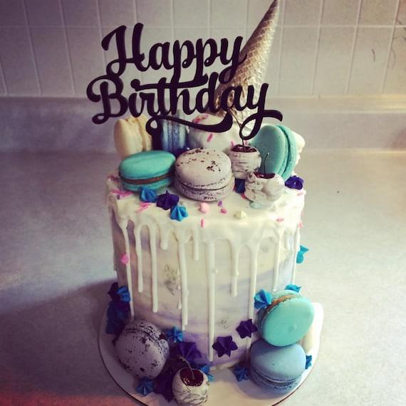 Magnificent Happy Birthday Cake Topper Unique Celebration Cake Topper Etsy Funny Birthday Cards Online Alyptdamsfinfo
