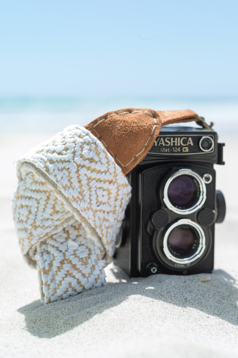 Camera Strap Madagascan Woven for DSLR FREE SHIPPING * Mirrorless /& Film Cameras *Free Engraving* Hand Made Leather LinenCotton Hippie
