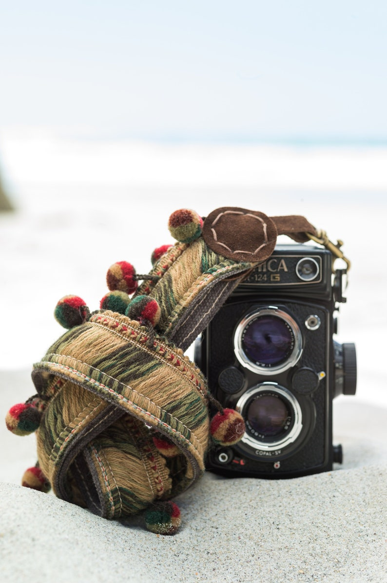 Woven Wool Camera Strap Tassle/Bobble for DSLR, Mirrorless & Film Cameras -  *Free Engraving* Hand Made Hippie Vibes * FREE SHIPPING *