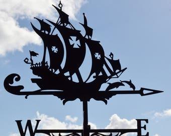 Frigate Metal Weathervane Roof Mount Ship Weather Vane Wind Decor