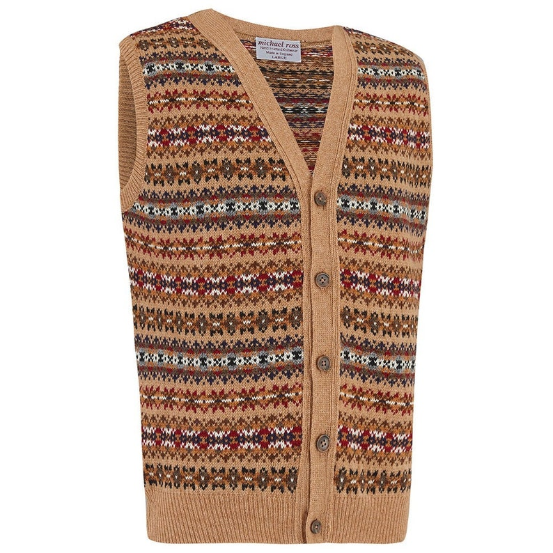 1940s Men's Shirts, Sweaters, Vests COUNTRY- Fair Isle waistcoat 0090-2746-F33 CAMEL $237.79 AT vintagedancer.com