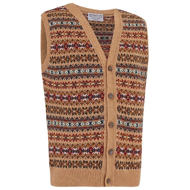 1940s Men's Clothing COUNTRY- Fair Isle waistcoat 0090-2746-F33 CAMEL $237.79 AT vintagedancer.com