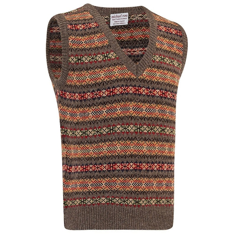 1920s Men's Sweaters, Pullovers, Cardigans Harvest Fair Isle slip over 0001-2747-F87 Donkey $200.32 AT vintagedancer.com