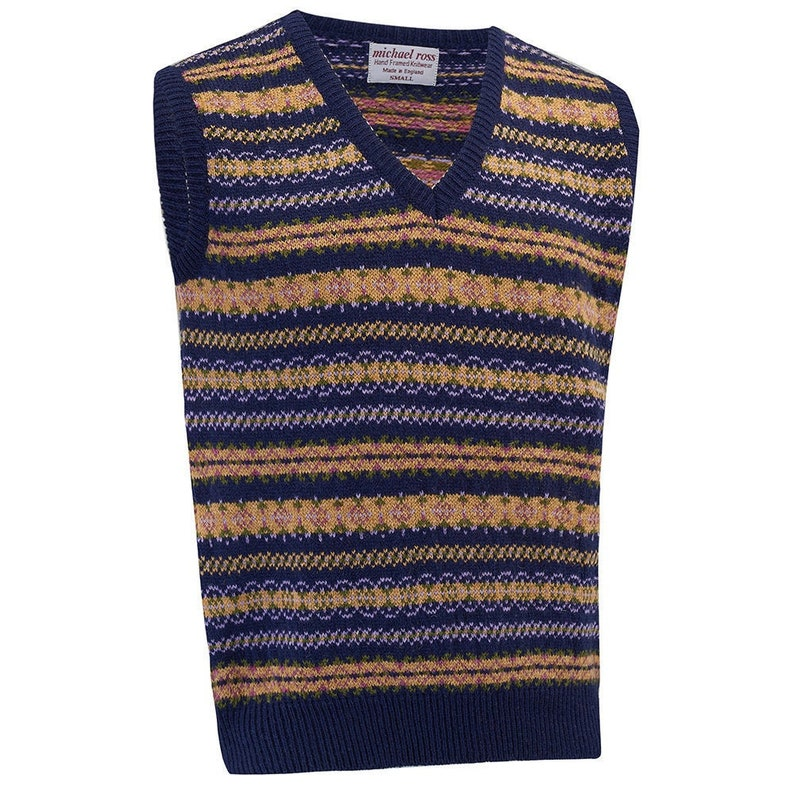 1920s Men's Sweaters, Pullovers, Cardigans Crest Fair Isle slip over 0012- 2747- F50 Nvy $200.32 AT vintagedancer.com