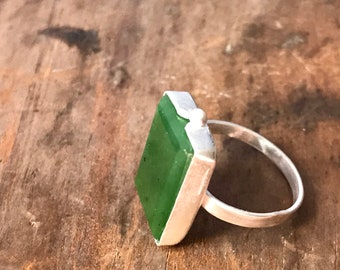 Beautiful Green Polar Jade ring  in 925 Silver all hand cut and set
