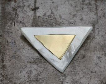 Brass and Mother of Pearl Modern Brooch.