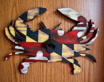 Rustic Maryland Crab Bottle Opener