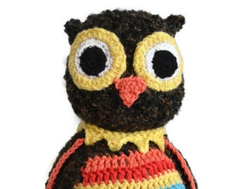 Crochet Stuffed Owl, Colorful Owl, Crochet, Amigurumi Owl, Owl Stuffed Animal, Plush Owl Toy, Owl Doll, Baby Toy
