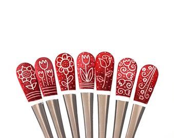 Red Flowers, Coffee Spoon Set, Enamel Spoon, Hand-painted Spoon, Flatware Set, Personalized Spoon, Coffee Lover, Spoon Set, Colorful Spoon