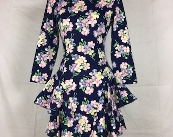 ON SALE! 1980's vintage floral peplum dress