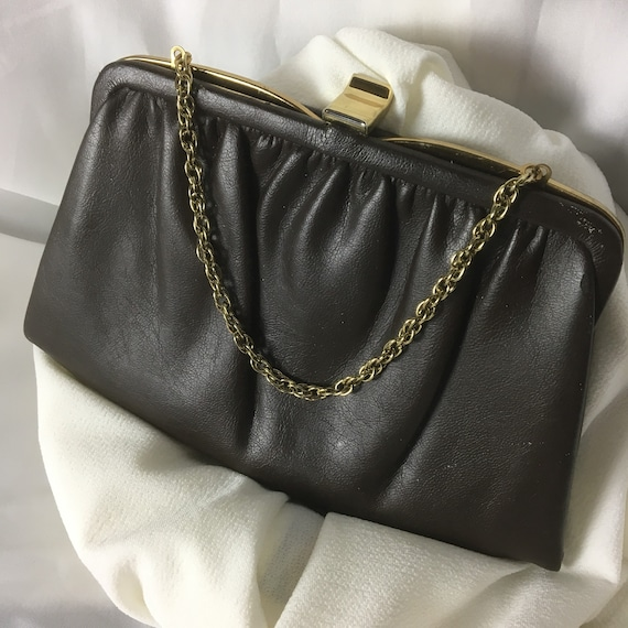 Vintage 1950s leather original Ande handbag clutch vintage  1bb6b3bafebae