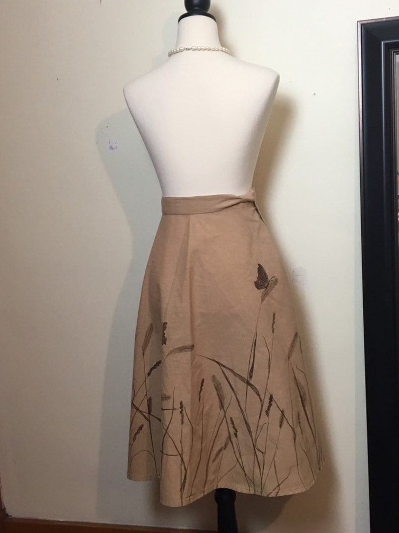 Wraparound vintage skirt  apron  full wrap around  nature print