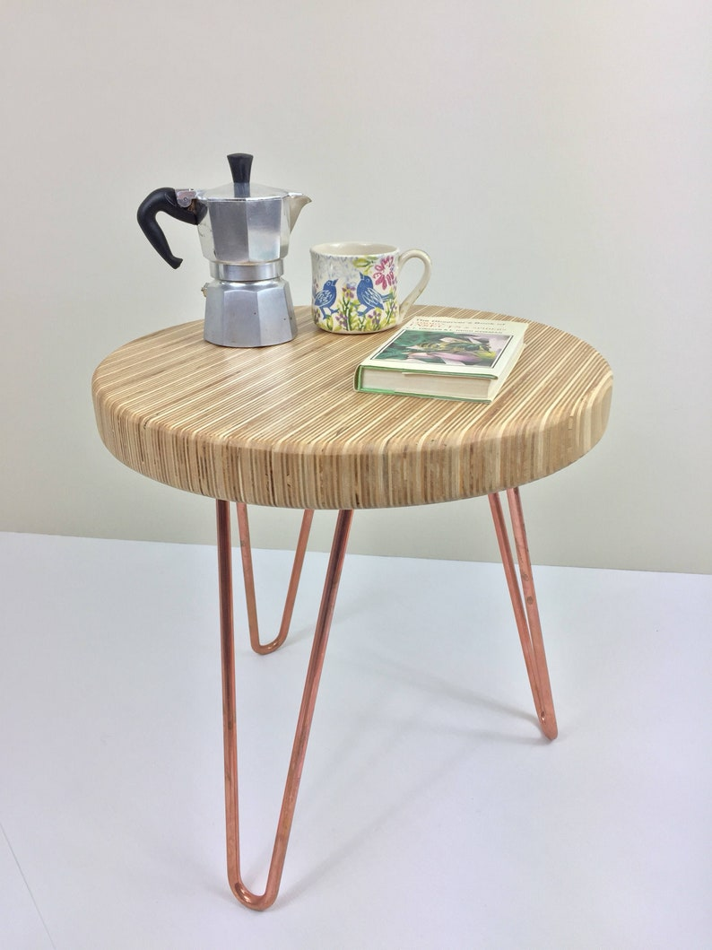 End Grain Coffee Table.Coffee Table Baltic Birch End Grain Baltic Birch Table Copper Hairpin Legs End Table Round Table