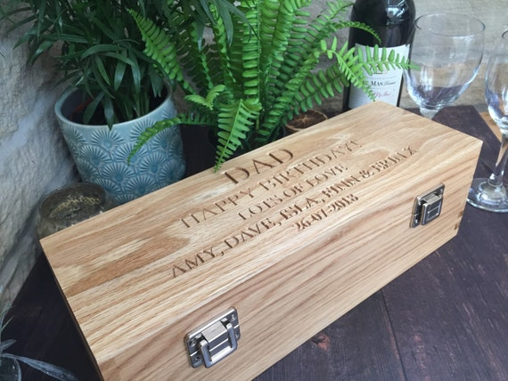 Engraved Wine Box Wine Case Wine Storage Wooden Wine Box Retirement Best Man Fathers Day Wine Accessory Wine Gift