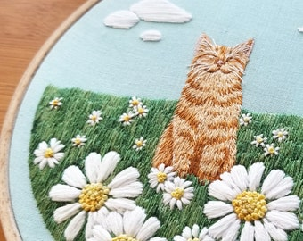 """Hand Embroidery KIT: Orange Tabby Cat """"Happy Place"""" Pattern. Beginner Needlepoint Design. Modern Embroidery Pattern, Thread Painting"""