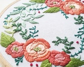 Beginner hand embroidery kit, modern embroidery design, DIY embroidered roses, bright flowers easy craft kit, embroidery fabric and floss