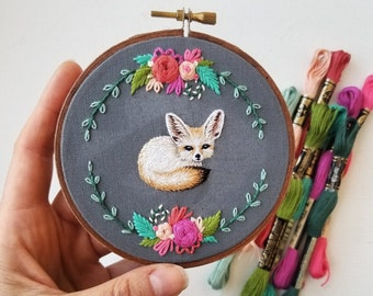 Fennec Fox hand embroidery set, diy modern embroidery pattern, animal wall art craft kit, stamped fabric for embroidery, nursery art project