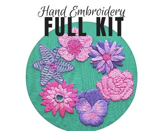 Hand Embroidery Pattern Simple Flowers Beginner Design Etsy