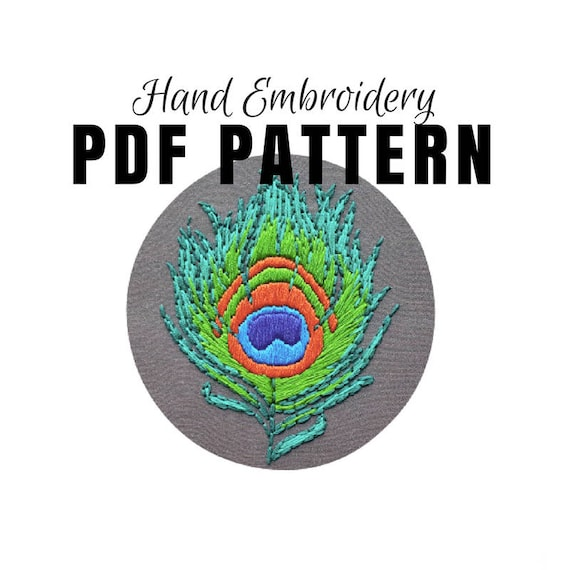 Hand Embroidery Pattern Pdf Peacock Feather Beginner Etsy