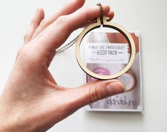 Mini Embroidery Hoop Necklace Kit,  2.2 Inch Wooden Circular Frame for Wearable Needlepoint, Cross Stitch or Embroidery Art, Dandelyne
