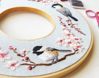Hand Embroidery Kit: Spring Double Hoop Wreath, Chickadee and cherry blossom Needlepoint Design, Modern Embroidery Pattern, thread painting