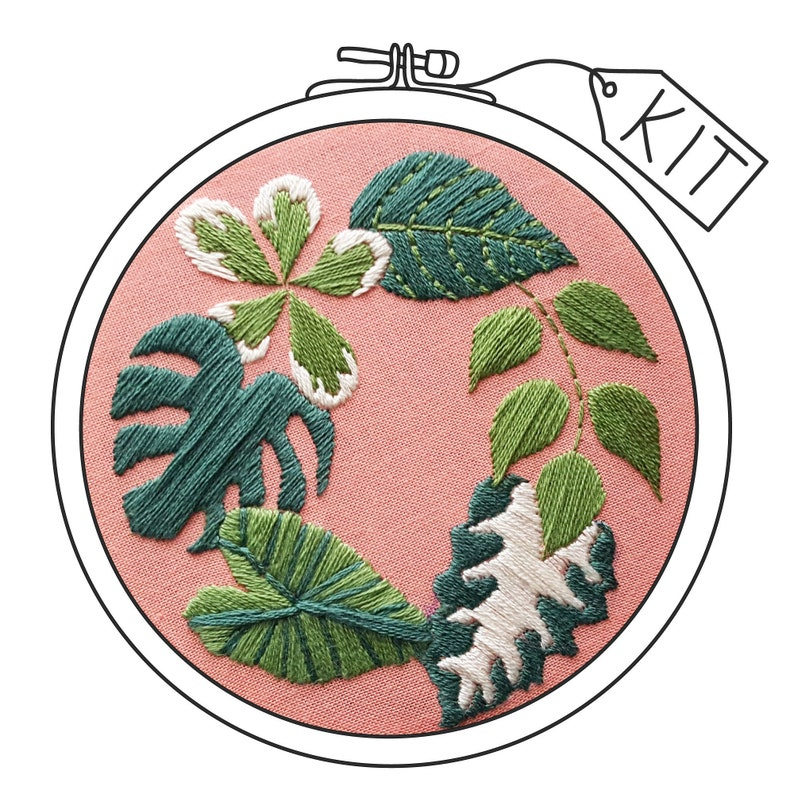 Hand Embroidery KIT: Tropical Plants Pink  Beginner image 0
