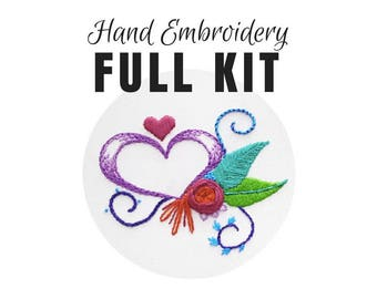 Hand Embroidery KIT: Heart Sampler, Beginner Needlepoint Design, Video Tutorial, Modern Contemporary Embroidery Pattern, Easy Embroidery