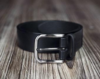 Leather Belt - Women's belt - Men's belt - 3,5cm width - Black Belt -Brown Belt - gift for men - gift for women