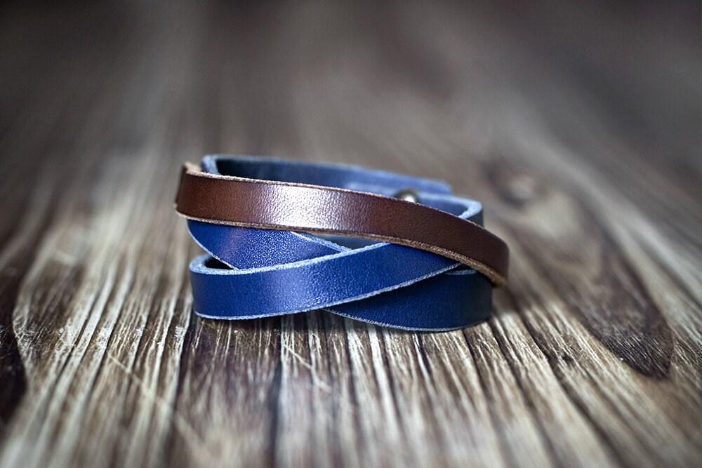 minimalist blue and brown contrast color leather bracelet etsy. Black Bedroom Furniture Sets. Home Design Ideas