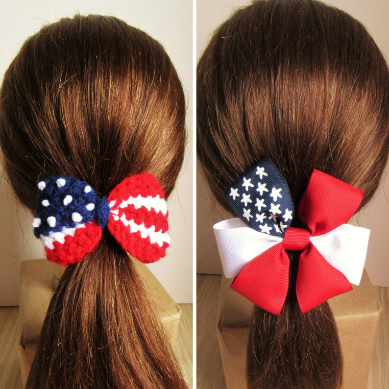 Red White Blue Patriotic 4th Of July Headband Streamers Pig Tails Hair Accessory