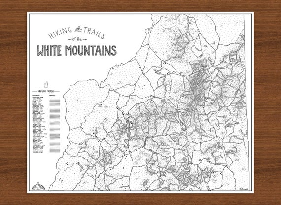 White Mountains NH Hiking Trails Map 4000 footers hand drawn   Etsy
