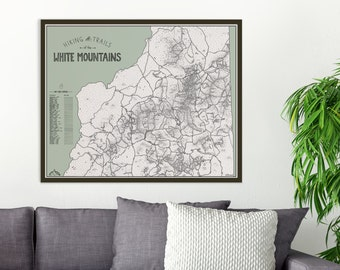 Color Your Hike - White Mountains NH Hiking Trails Map, 4000 footers, hand drawn print, hiking gift, New Hampshire, Appalachian Trail, hike