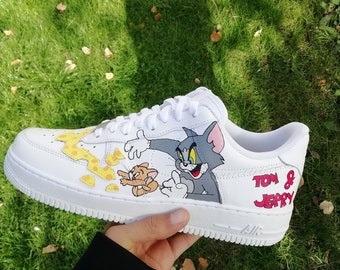 new style 7147e 05dd3 Custom Nike Air Force tom and jerry ,custom sneakers , custom shoes , custom  nike ,custom kicks ,hand painted