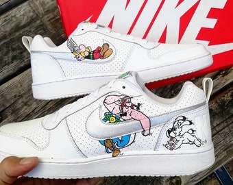 89ac3d61817 Custom Nike court borough,Asterix & Obelix, custom sneakers , custom shoes  , custom nike ,custom kicks ,hand painted