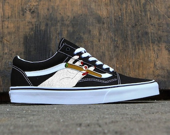 Custom Vans Old Skoolweedjointhandmarijuanacustom Sneakers Shoes Kicks Hand Painted