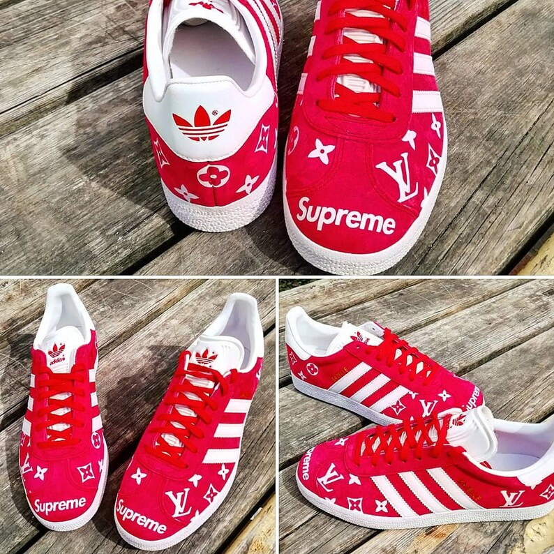 best website 6327b d8458 Supreme louis vuitton Custom Adidas Gazellecustom sneakers   Etsy