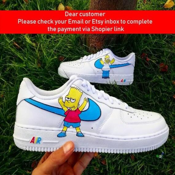 promo code 913b1 801b4 Custom Nike Air Force Simpsons homer and bart custom  Etsy