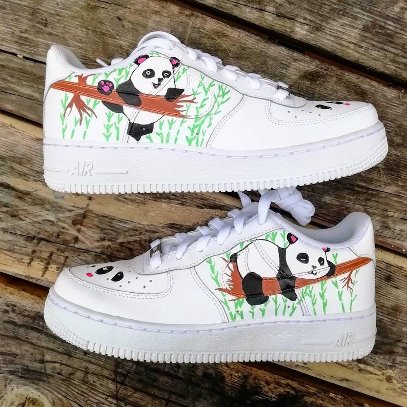 91eec9f5f90f4 Custom Nike Air Force one pandapanda bamboocustom sneakers