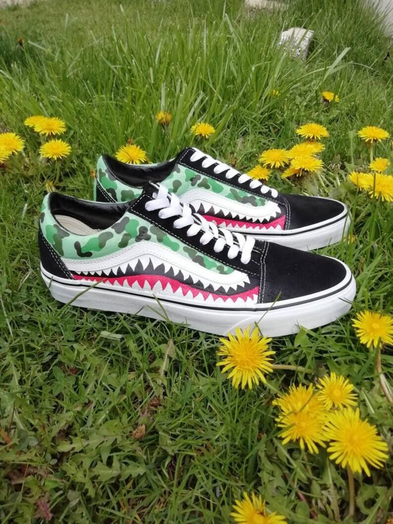 9143bb1fc7cb Custom vans old skoolbape bape sharkcustom sneakers