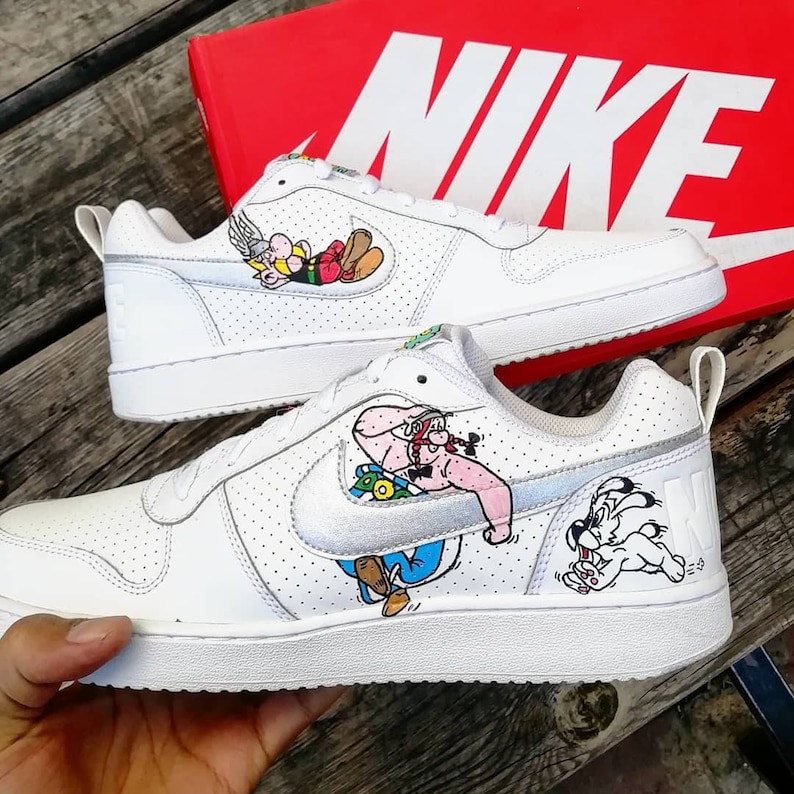 check out dbe95 2142a Custom Nike court boroughAsterix   Obelix custom sneakers   Etsy