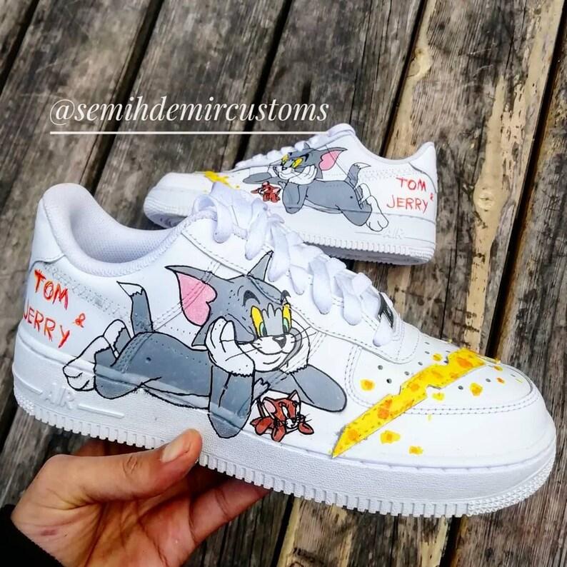 5ca43c43cc06 Custom Nike Air Force tom and jerry custom sneakers custom