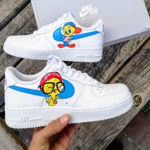 designer fashion effbb a1a8e Custom Nike Air force 1 tweetycustom sneakers custom shoes   Etsy