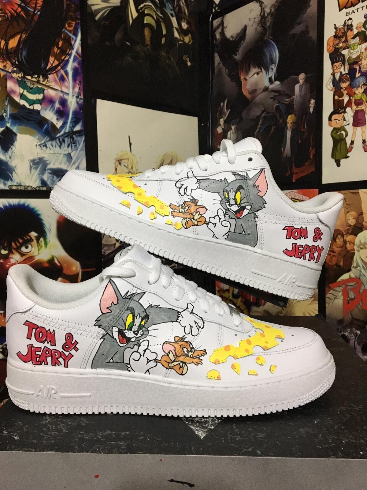 Custom Nike Air Force tom and jerry ,custom sneakers , nike custom shoes , custom nike , ,custom kicks ,hand painted 2546af