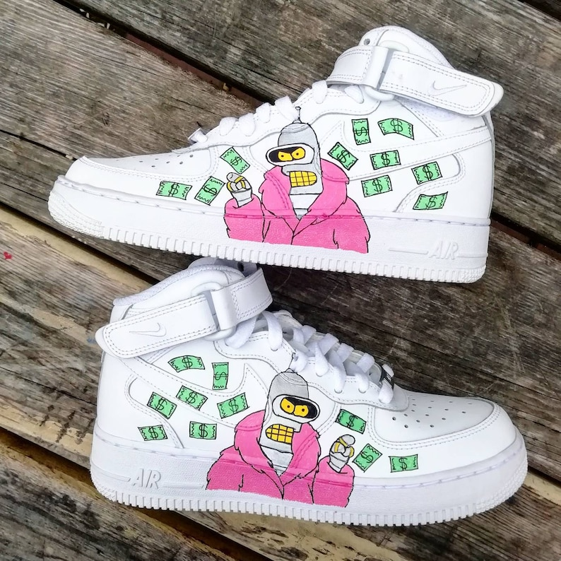 6ff940dc07807 Futurama, bender custom air force one ,custom sneakers,custom shoes,custom  nike ,custom kicks ,hand painted