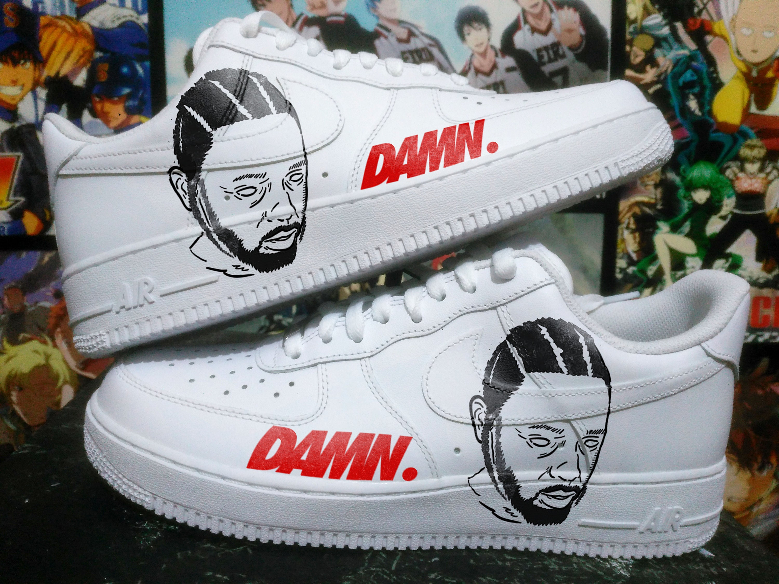 super popular 02a65 35b56 Custom Nike Air Force one kendrick lamardamncustom sneakers   Etsy