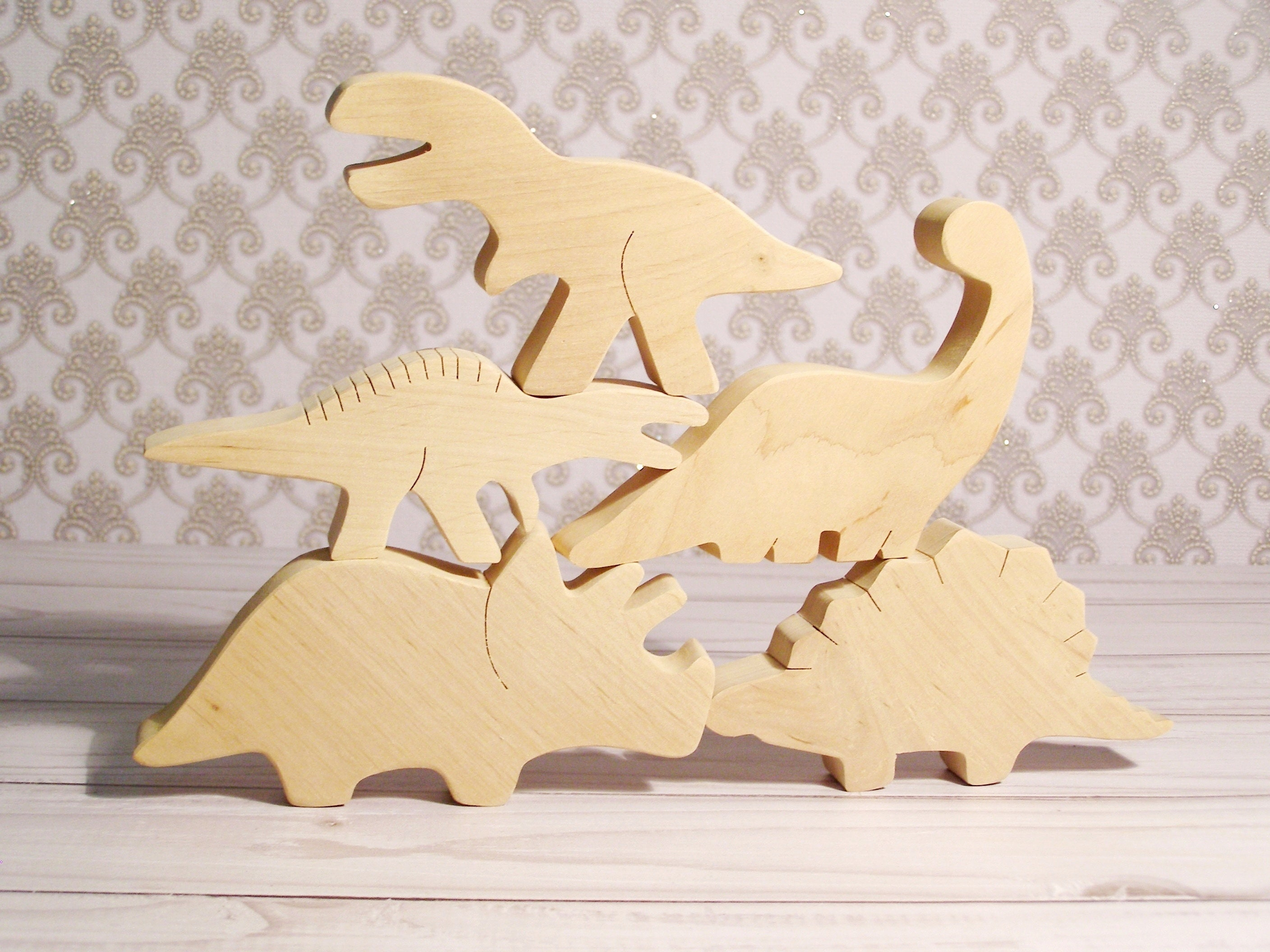 Wooden Dinosaurs Toys 5 Pcs Set Brontosaurus Unfinished Wood Etsy