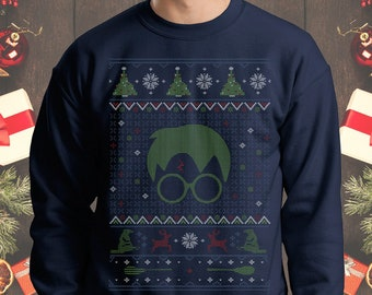 the boy who gifted ugly christmas sweater potter crewneck sweatshirt little wizard harry potter sweater hp christmas sweatshirt holiday gift