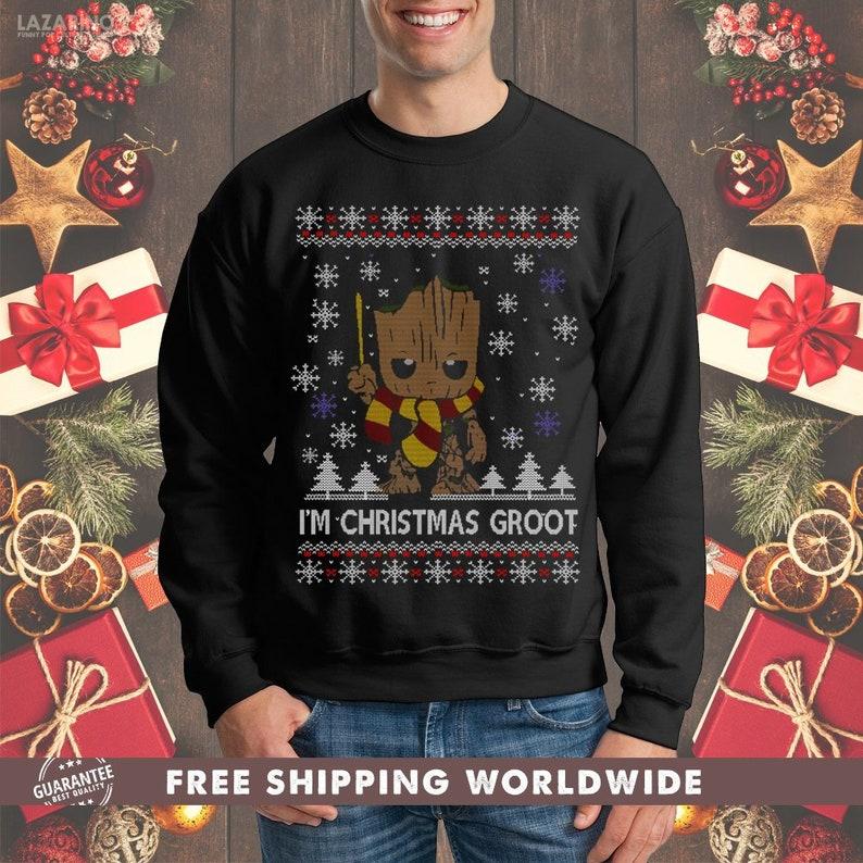 4bda6392a I'm Christmas Groot Ugly Sweater Crewneck Sweatshirt I Am   Etsy